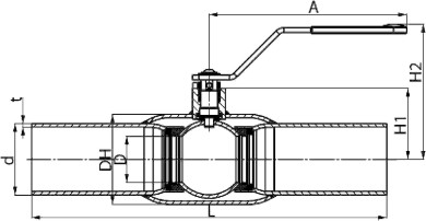 чертеж шарового крана под приварку от 10 до 50 мм.