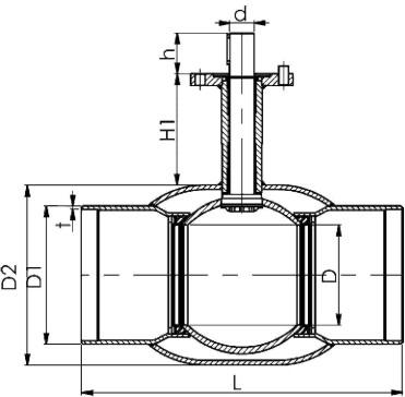 чертеж шарового крана под приварку от 150 до 250 мм.