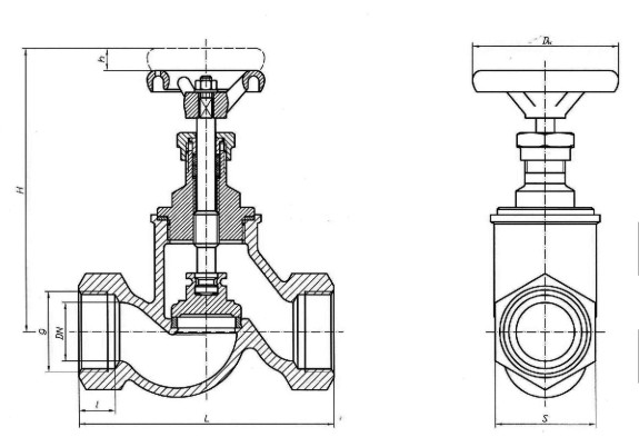 чертеж резьбового запорного клапана (вентиля)