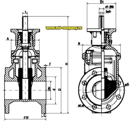 Фланцевая клиновая задвижка с обрезиненным клином и невыдвижным штоком под установку электропривода.